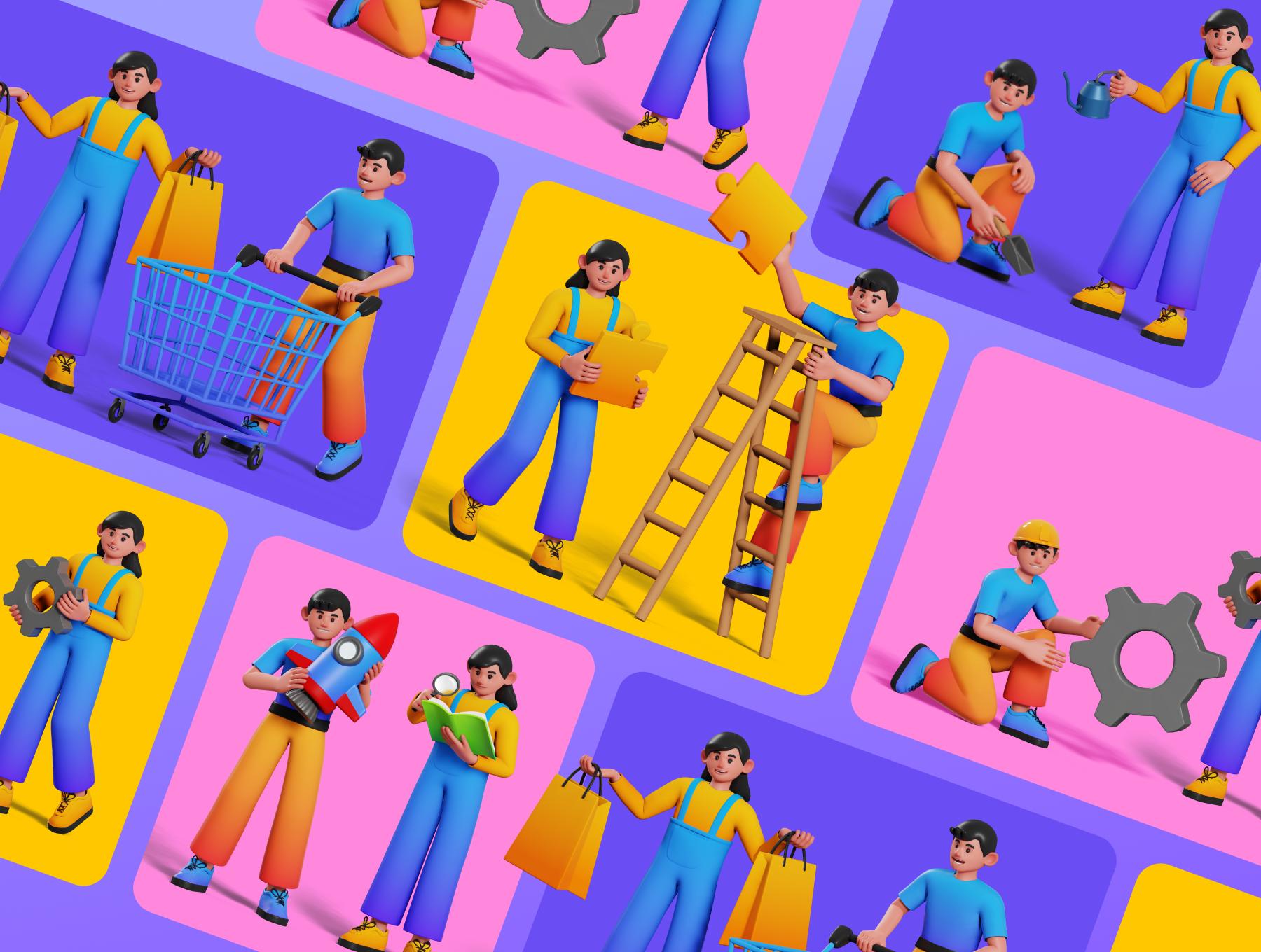 可爱卡通人物购物团队合作元素3D图标插图包 Joe and Jessie 3D Illustrations插图6