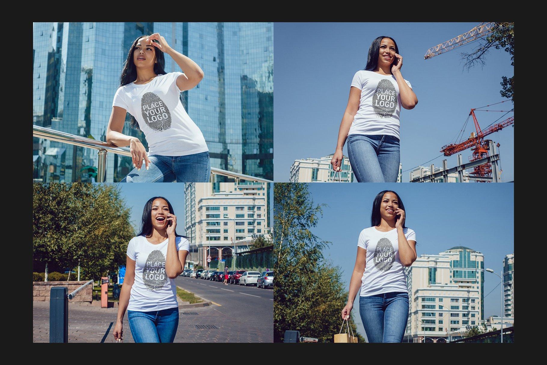 22款女孩半袖T恤衫印花图案设计展示贴图样机合集 Girls T-Shirt Mock-Up Set插图7