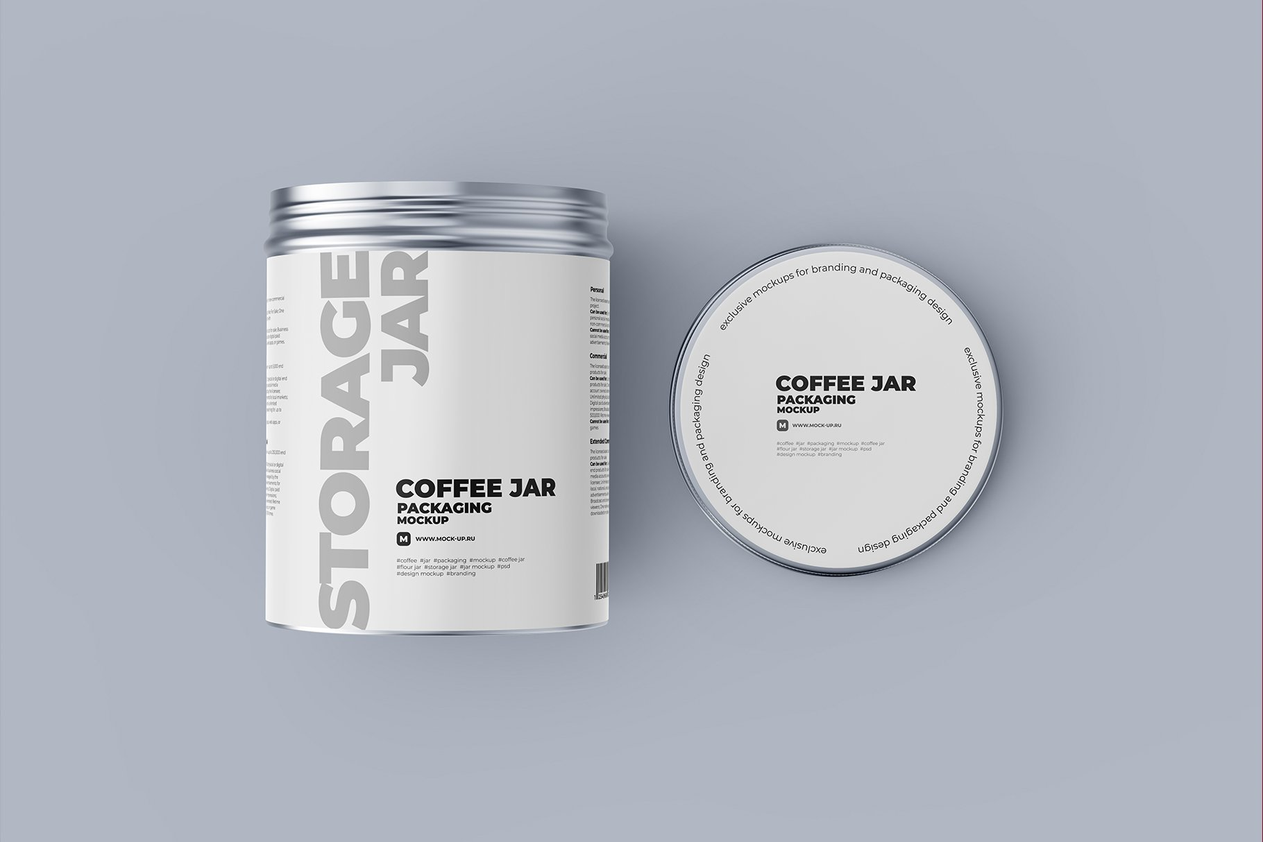 顶视图开盖茶叶零食金属罐标签设计展示贴图样机 Metallic Storage Open Jar. Top View插图5