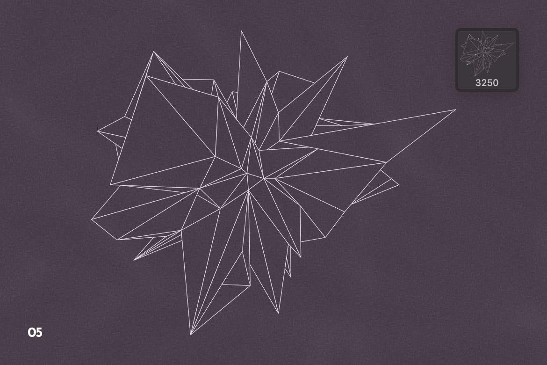 抽象科技未来线框多边形形状PS笔刷设计素材 Wireframe Polygonal Shapes Photoshop Brushes插图8