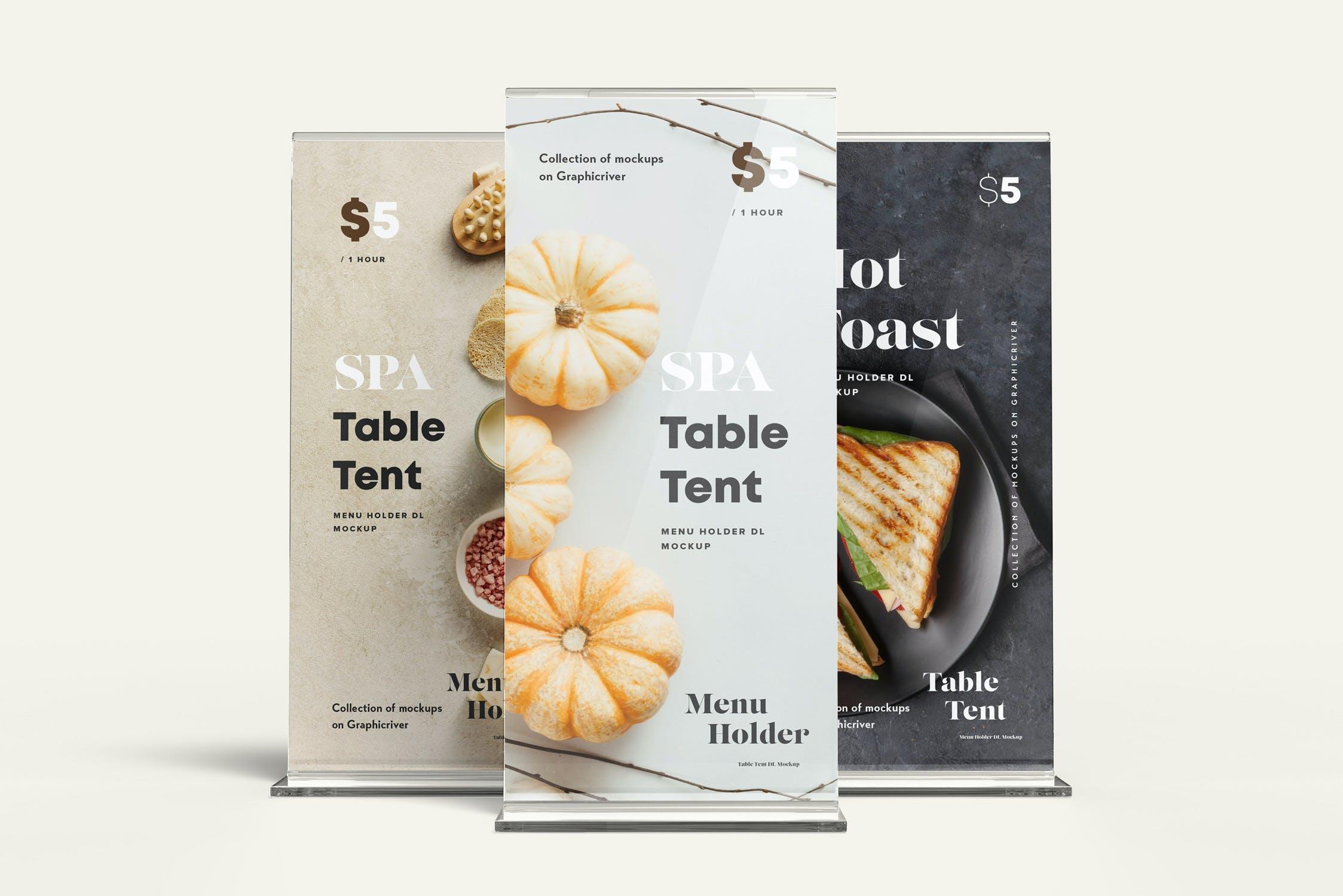 5款立式亚克力菜单海报桌牌设计展示贴图样机 Menu Holder Mock-up插图7