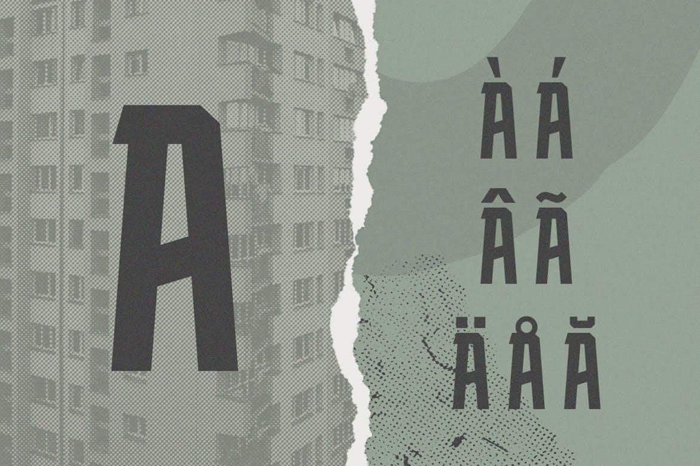 力量几何标题Logo设计衬线粗体英文字体 Blockhead Typeface Bold Geometric Font插图6