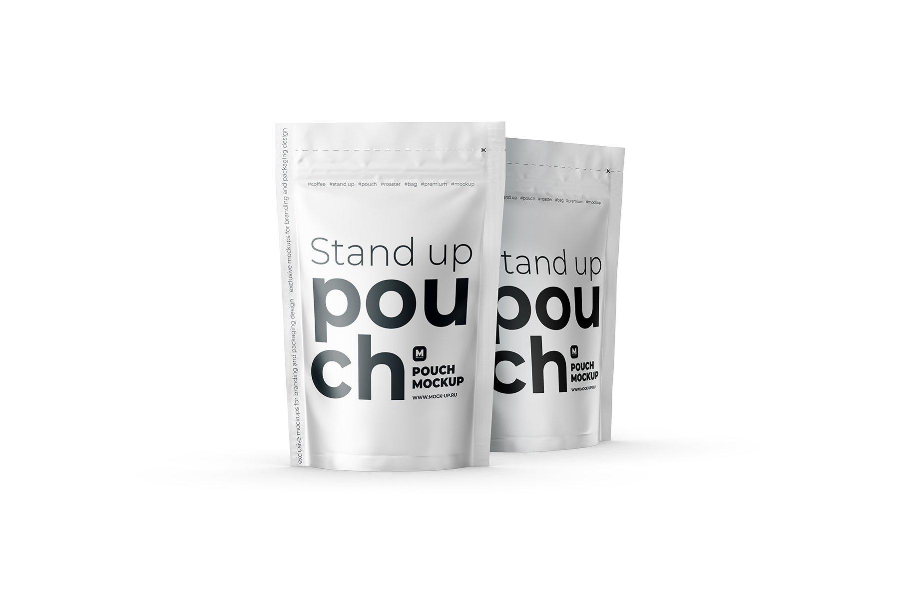 光泽立式食品自封袋设计PS贴图样机 Stand Up Pouch Front and Half Side插图8