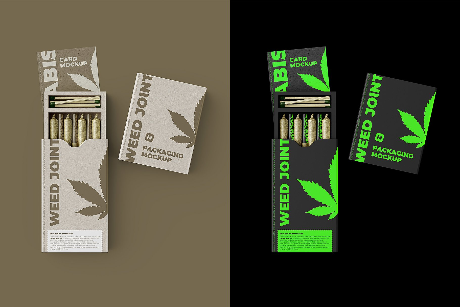 烟草香烟雪茄包装纸盒设计展示贴图样机 Weed Joint Packaging Mockup插图8