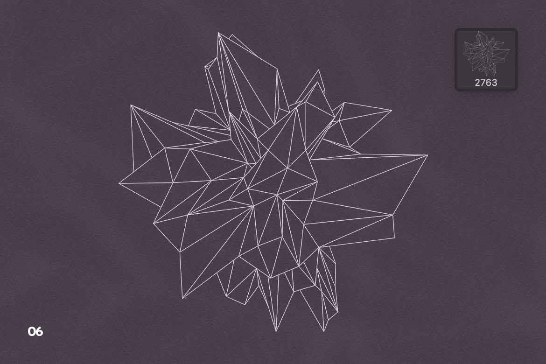 抽象科技未来线框多边形形状PS笔刷设计素材 Wireframe Polygonal Shapes Photoshop Brushes插图9