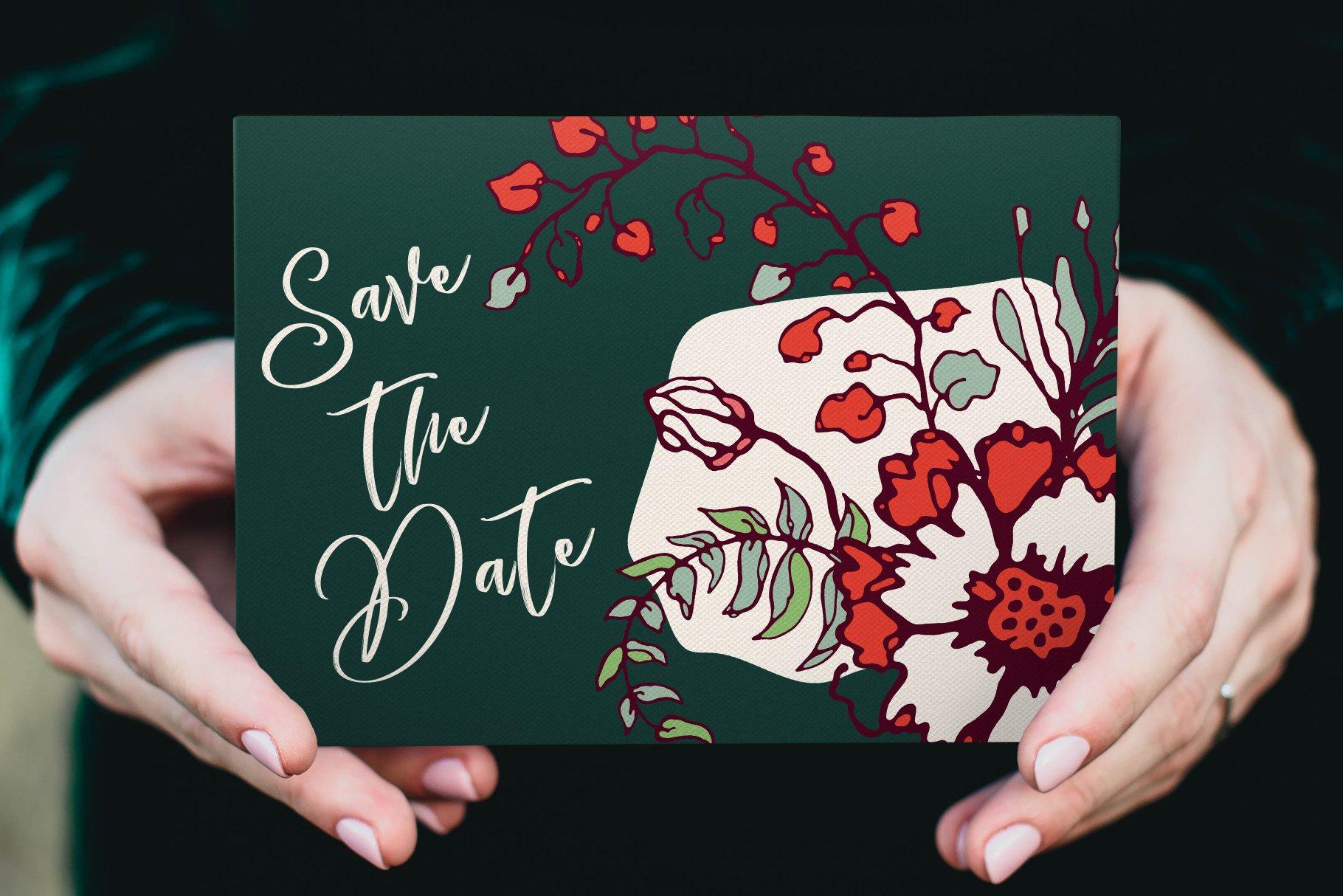 150多款时尚优雅花卉框架抽象形状手绘插画设计素材 Winter Floral Patterns & Elements插图8