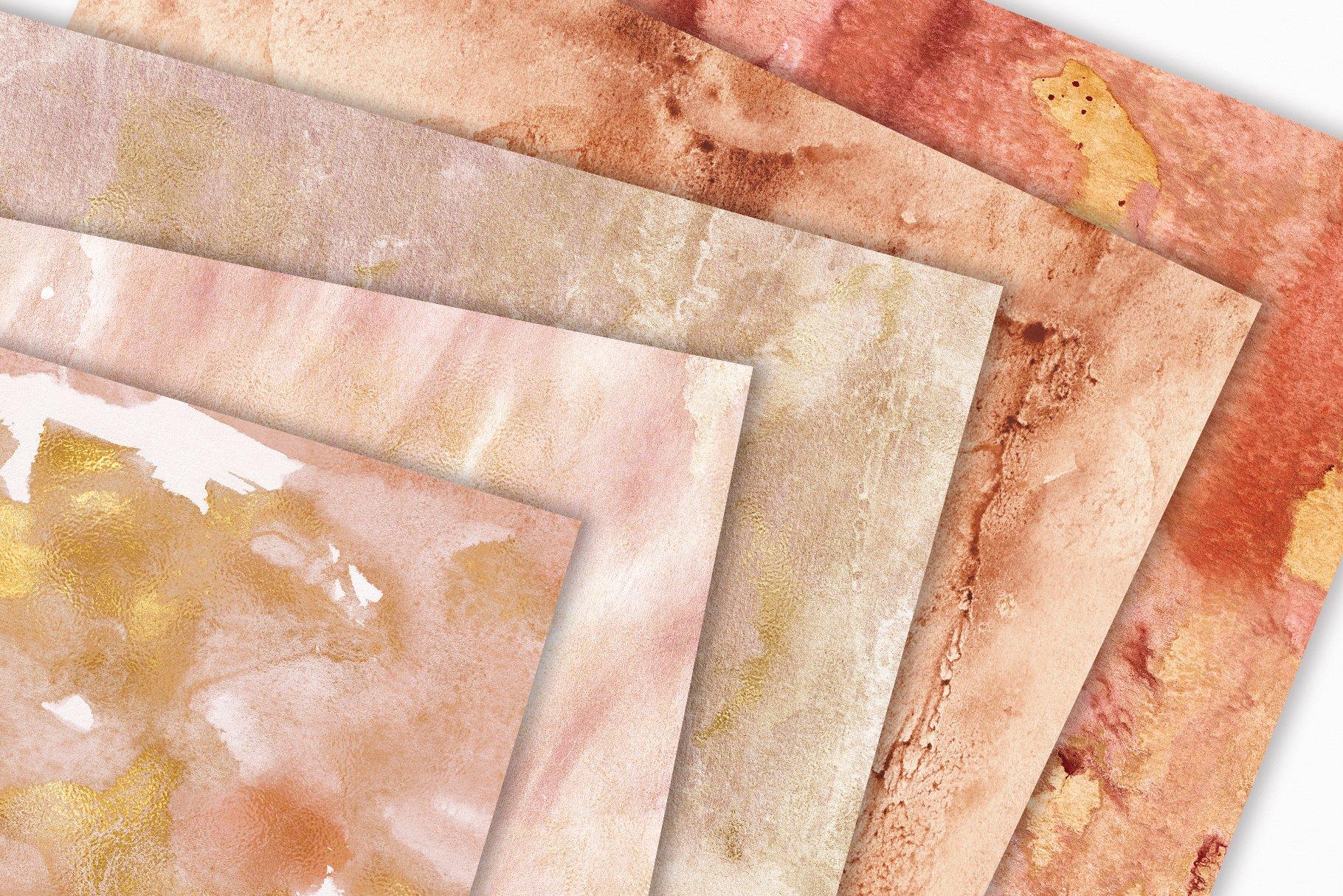 [单独购买] 20款抽象奢华橙色水彩纹理海报设计背景图片素材 20 Seamless Watercolor Textures插图8
