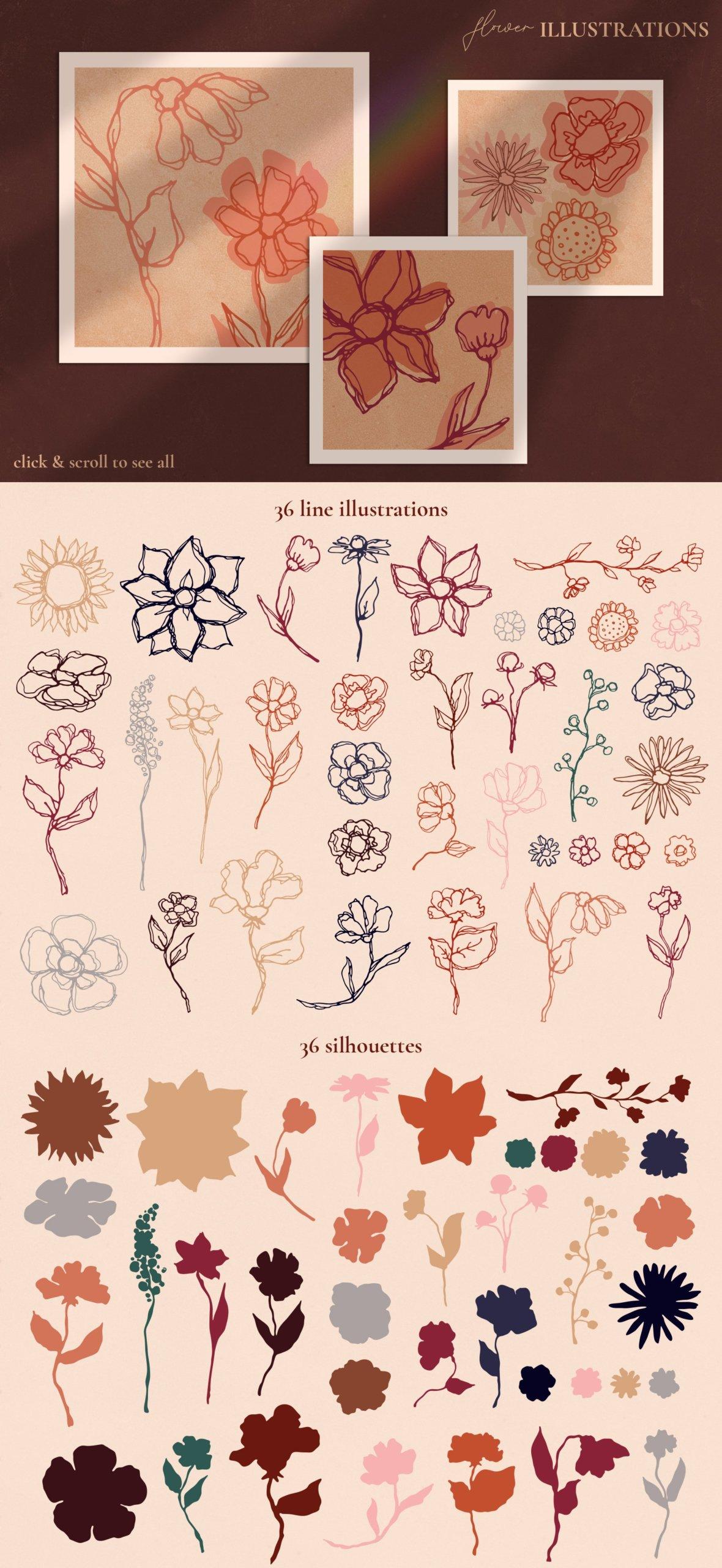 [单独购买] 现代优雅抽象花卉图形艺术线条金色箔纸设计套件 Abstract Line Art Design Kit插图8