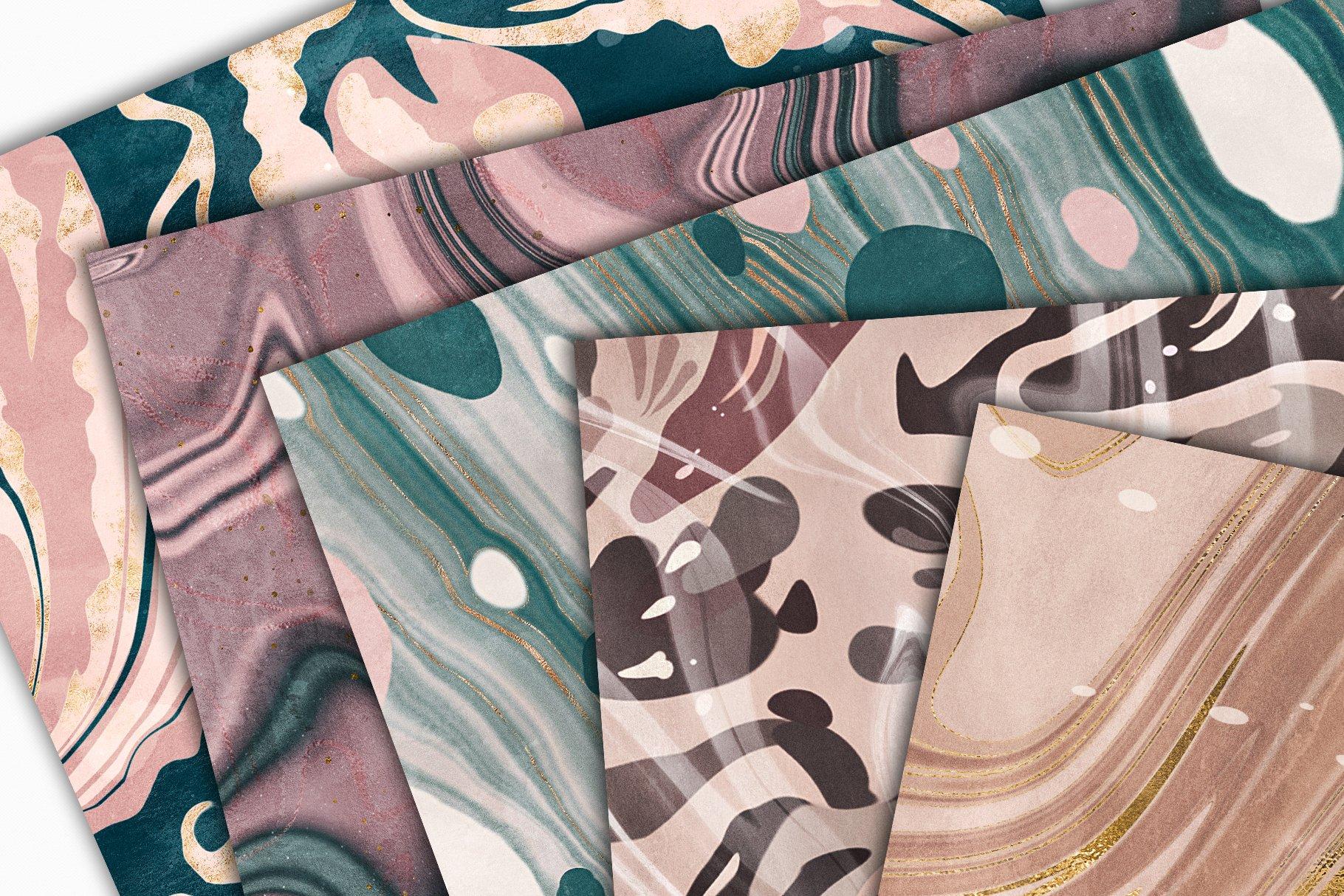 [淘宝购买] 15款抽象复古高清大理石金色箔纸纹理背景图片设计素材合集 Marbled Paper Texture Collection插图8