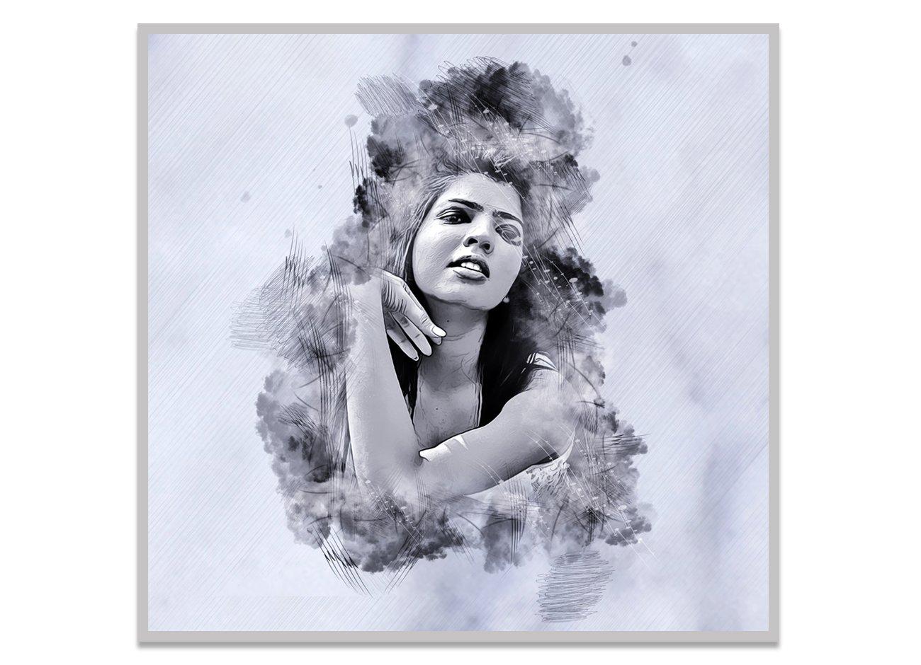 水墨素描效果照片处理特效PS动作模板 Ink Sketch Art Photoshop Action插图9