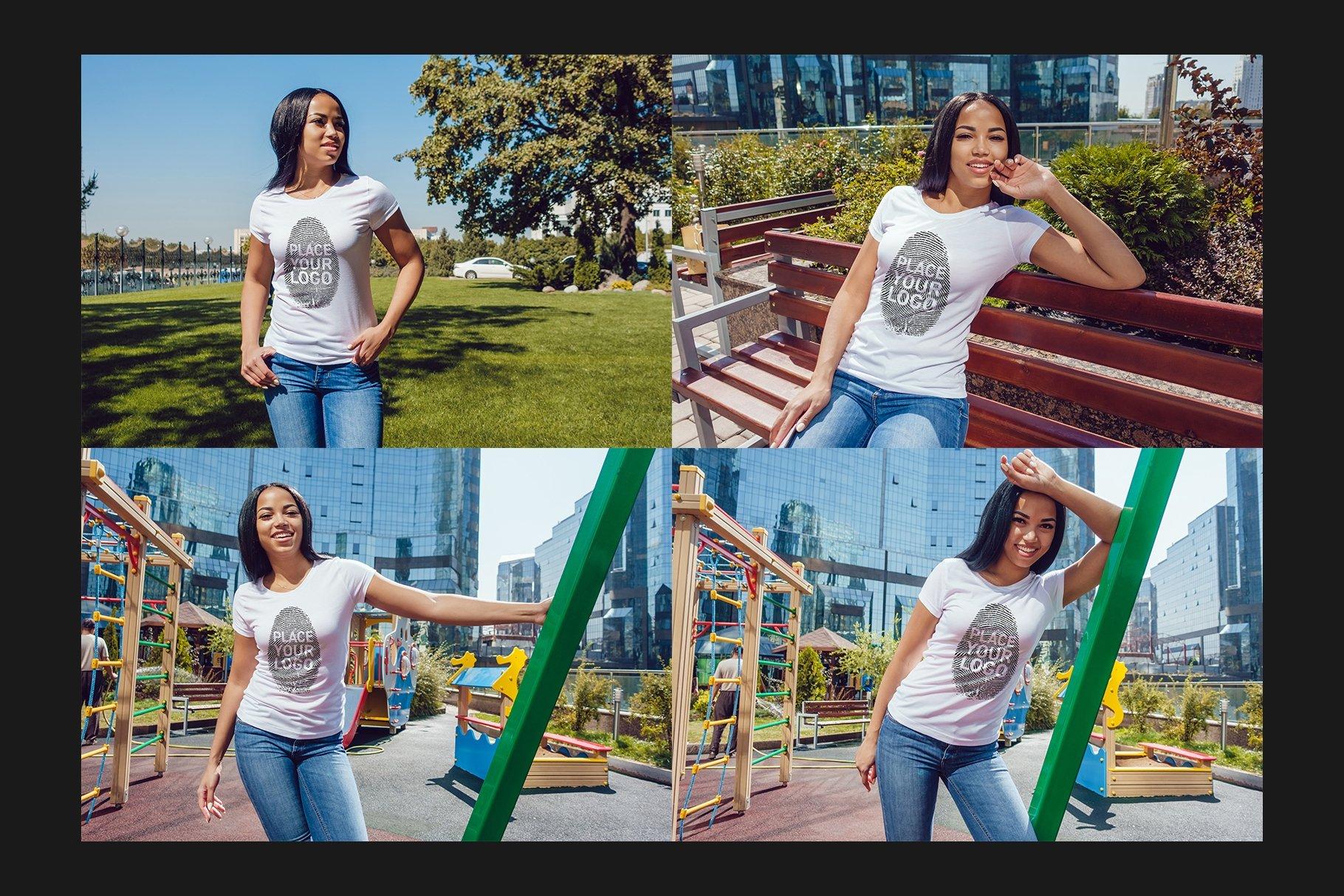 22款女孩半袖T恤衫印花图案设计展示贴图样机合集 Girls T-Shirt Mock-Up Set插图8
