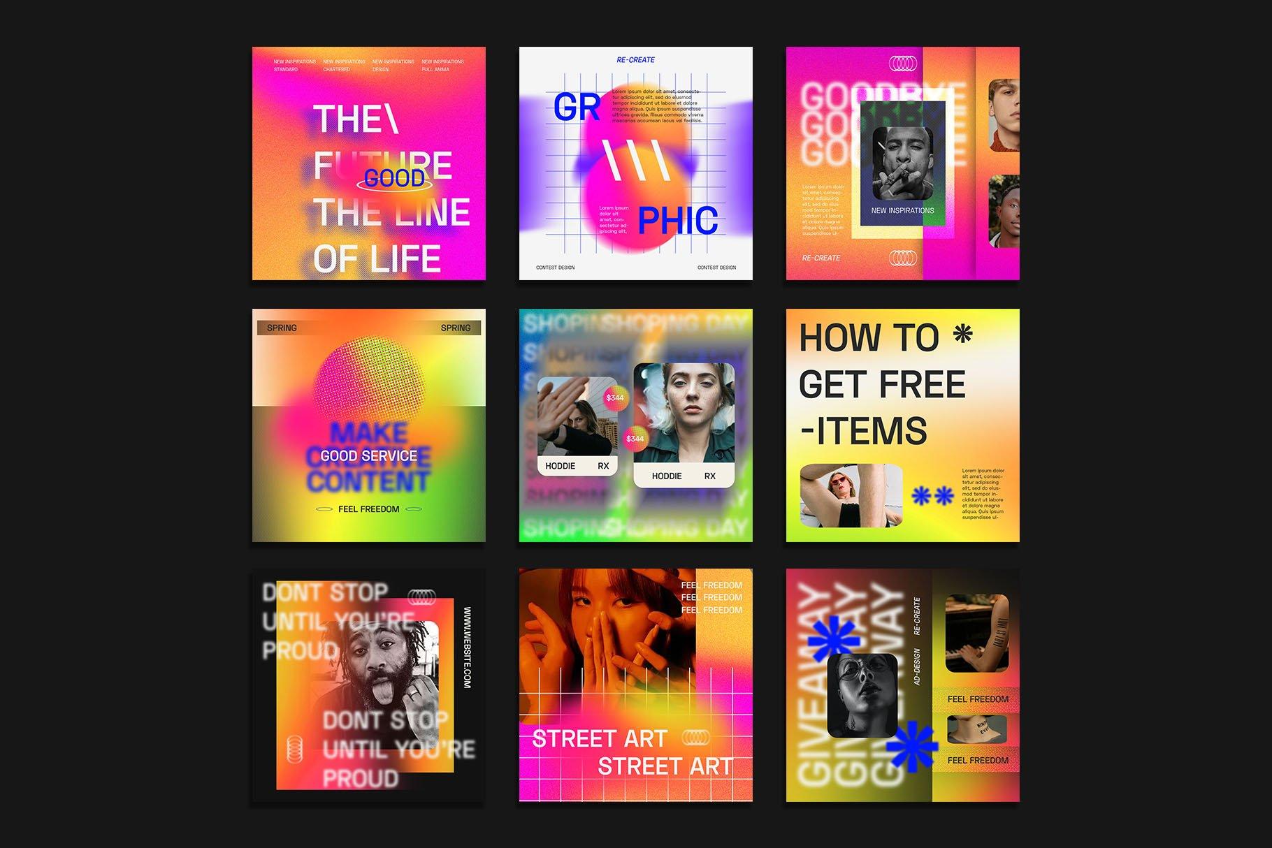 时尚潮流虹彩渐变品牌推广新媒体电商海报设计PSD模板素材 Gradiyent Instagram Templates插图1