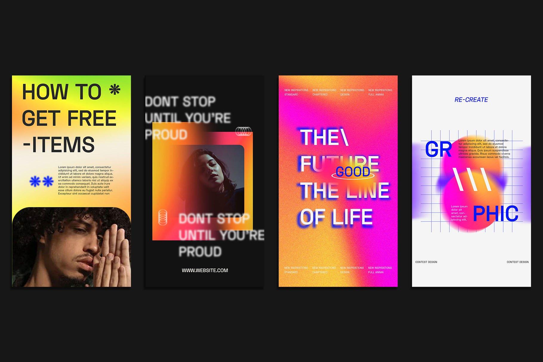 时尚潮流虹彩渐变品牌推广新媒体电商海报设计PSD模板素材 Gradiyent Instagram Templates插图2
