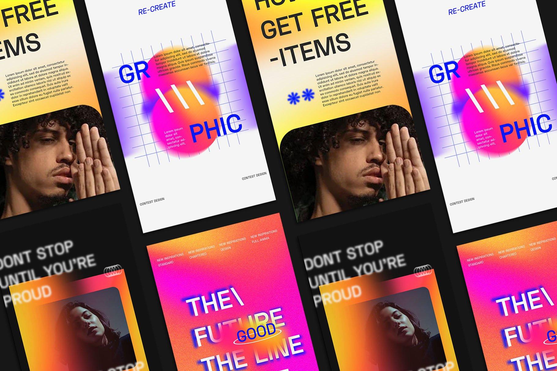 时尚潮流虹彩渐变品牌推广新媒体电商海报设计PSD模板素材 Gradiyent Instagram Templates插图3