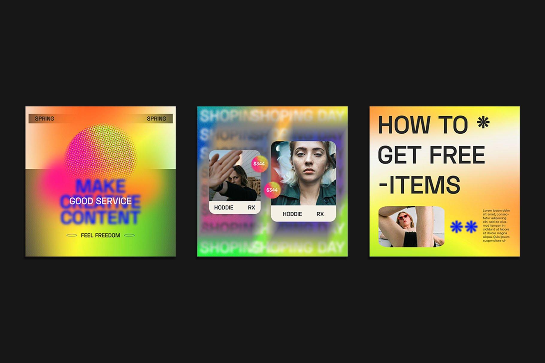 时尚潮流虹彩渐变品牌推广新媒体电商海报设计PSD模板素材 Gradiyent Instagram Templates插图7