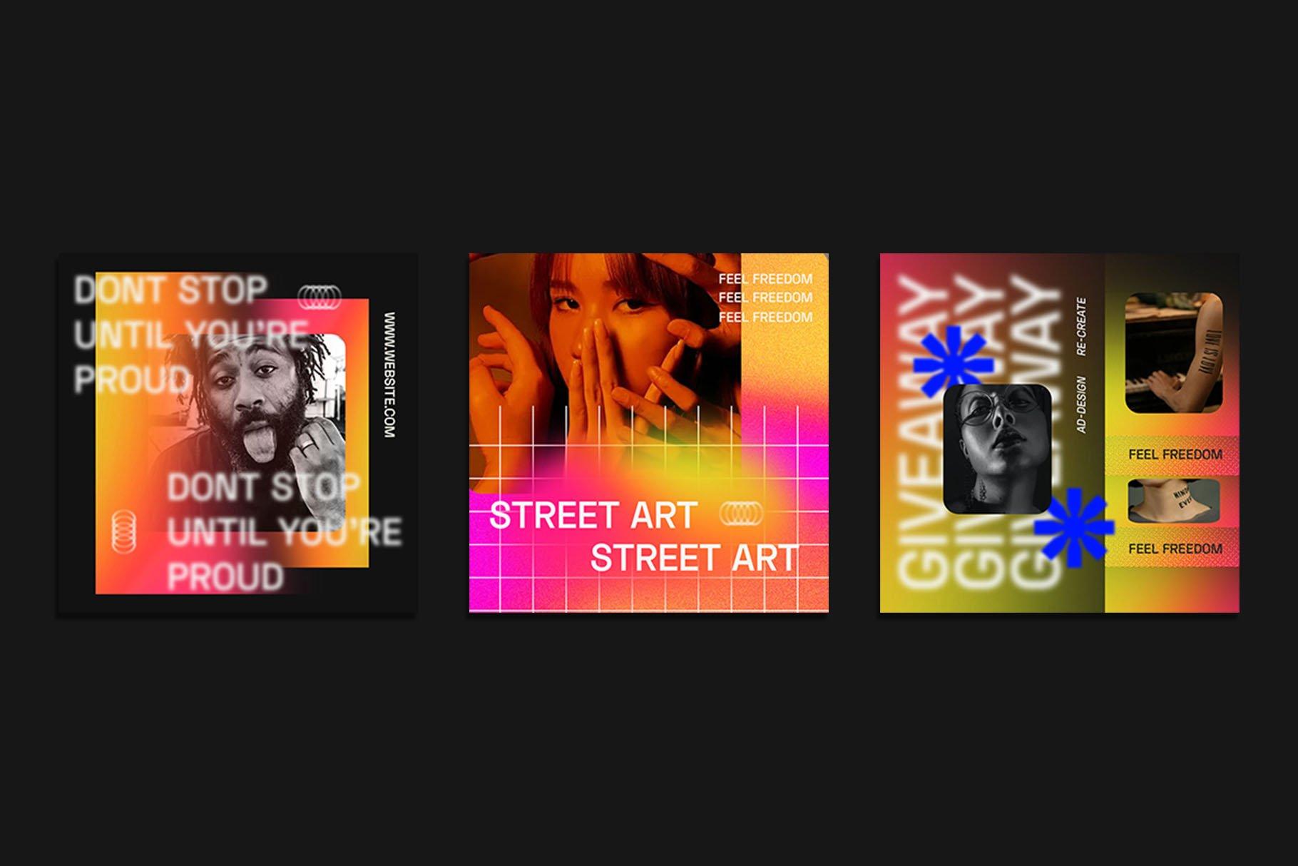 时尚潮流虹彩渐变品牌推广新媒体电商海报设计PSD模板素材 Gradiyent Instagram Templates插图8