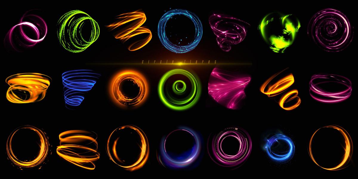 炫酷耀眼未来科幻罗恩光圈照片叠加层PNG透明图片设计素材 Rons Circle Flares插图4