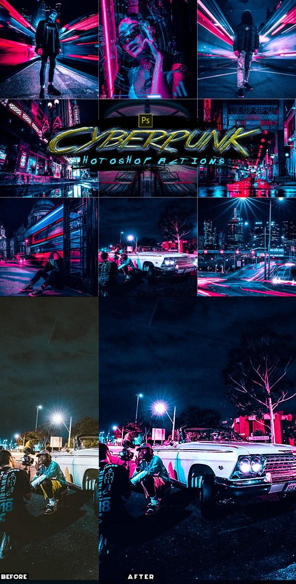 潮流赛博朋克风照片处理特效PS动作模板 Cyberpunk Photoshop Actions插图