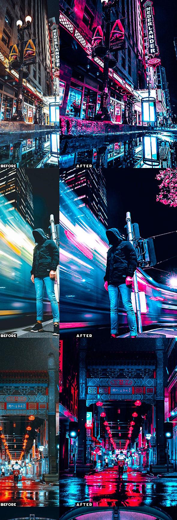 潮流赛博朋克风照片处理特效PS动作模板 Cyberpunk Photoshop Actions插图2