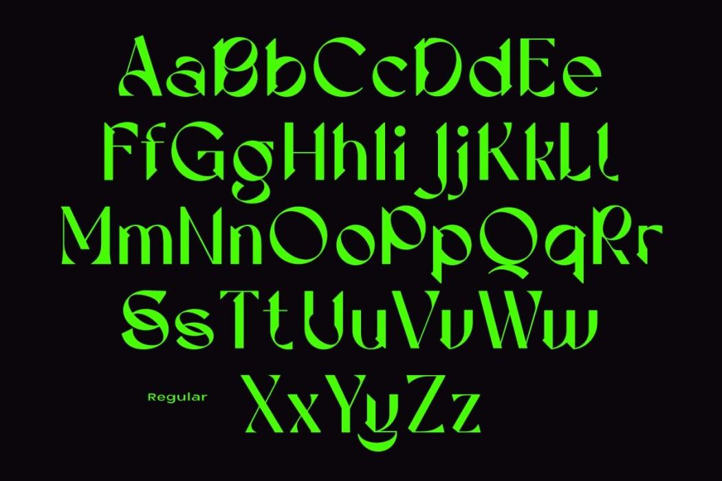 [淘宝购买] 现代潮流三角尖锐锋利标题徽标Logo设计衬线英文字体素材 Calliope Display Typeface插图11