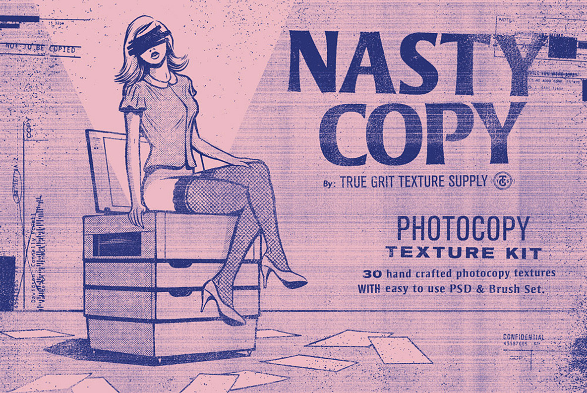 潮流复古做旧复印喷墨纹理背景图片PS设计素材 Nasty Copy Texture Pack插图