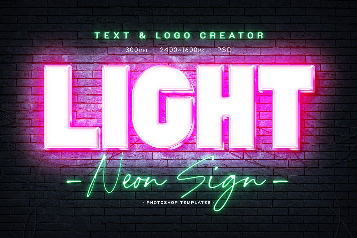 [淘宝购买] 6款霓虹发光酒吧夜店海报标题Logo特效字体样机素材 Neon Signboard Text & Logo Creator插图1