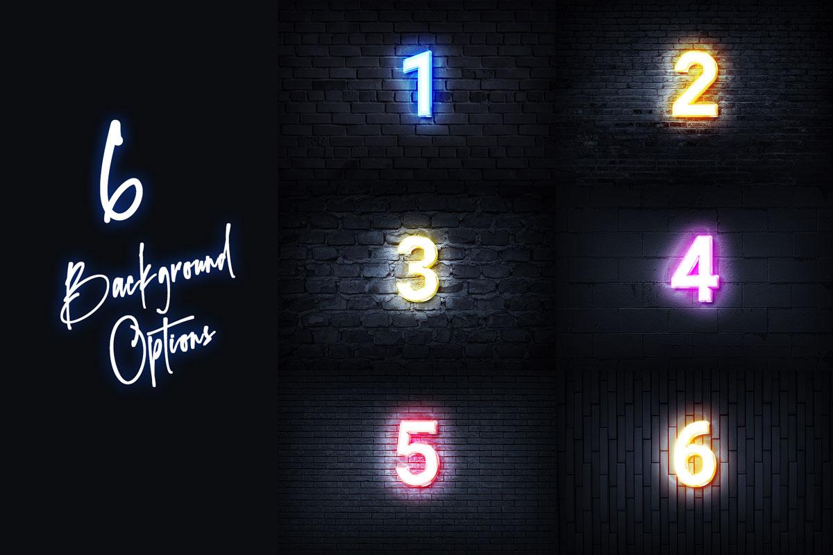 [淘宝购买] 6款霓虹发光酒吧夜店海报标题Logo特效字体样机素材 Neon Signboard Text & Logo Creator插图6