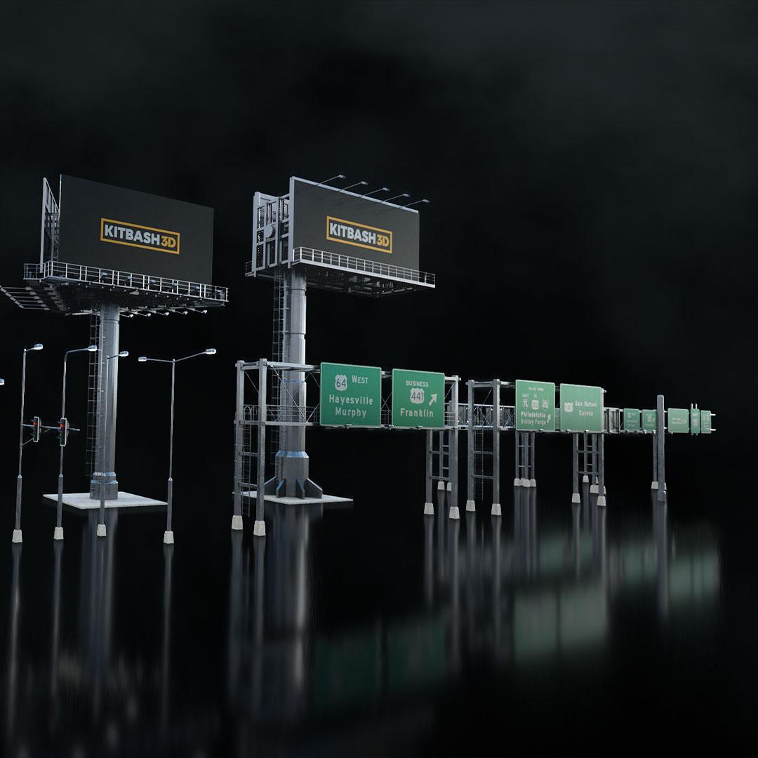 高速公路道路网路标指示牌设计3d模型素材 Kitbash3D – Props Highways插图4