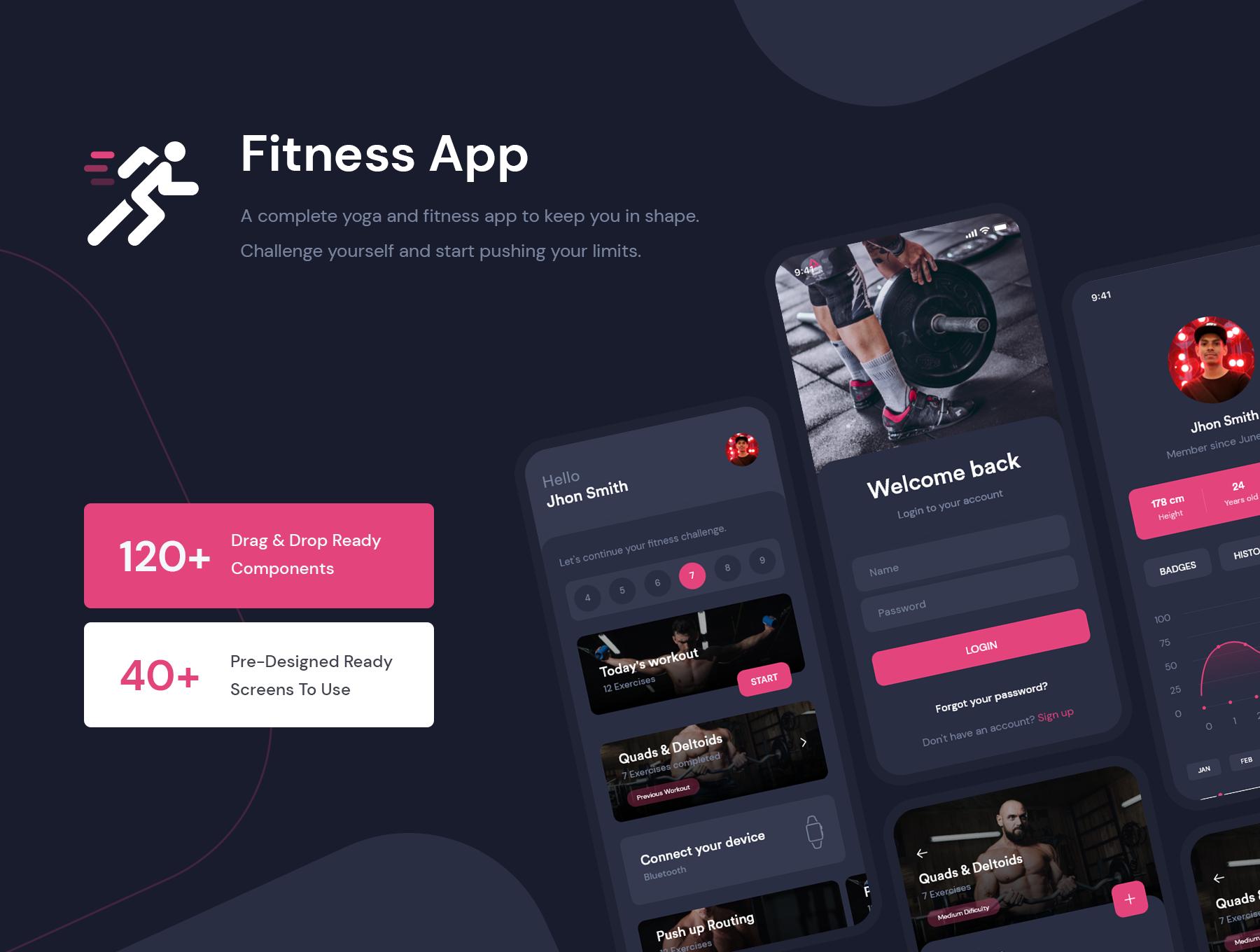健身减肥健康饮食APP应用程序界面设计UI套件 Fitness Workout App UI Kit插图