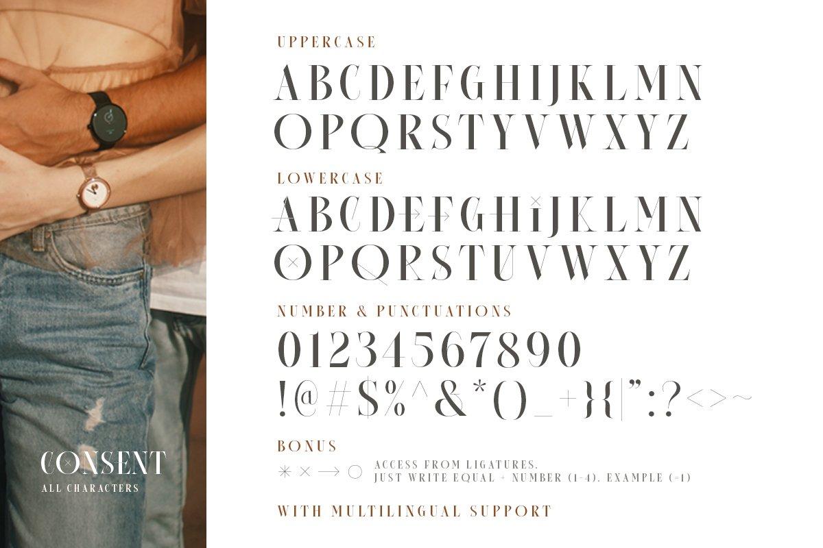 优雅杂志品牌标题Logo设计衬线英文字体素材 Consent – Editorial Serif Font插图9