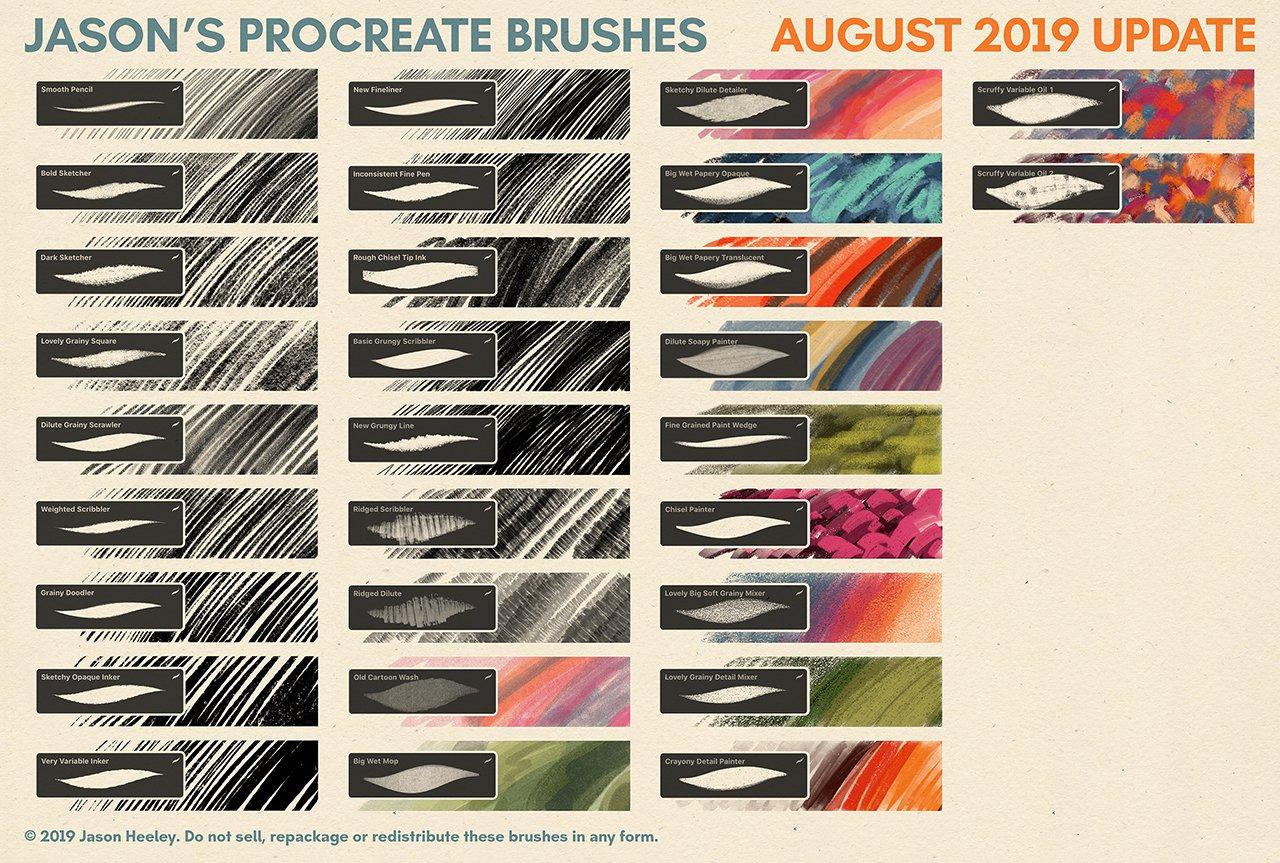 [淘宝购买] 潮流粗糙水墨颗粒线条绘画画笔Procreate笔刷素材 Jason's Procreate Brushes插图1