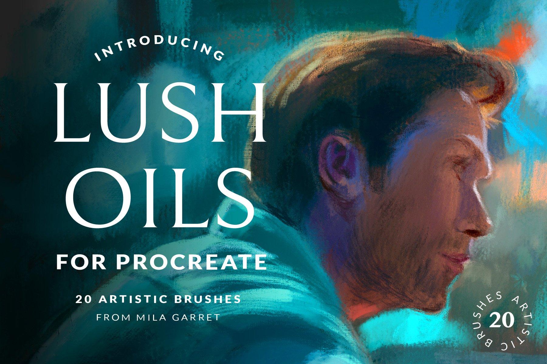20款油画绘画纹理效果Procreate笔刷设计素材 Lush Oils Procreate Painting Brushes插图