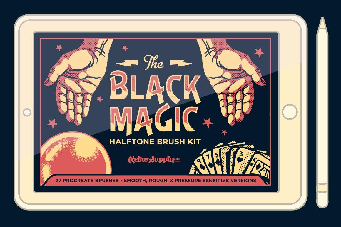 27款半色调颗粒绘画画笔Procreate笔刷素材 Black Magic Halftones插图