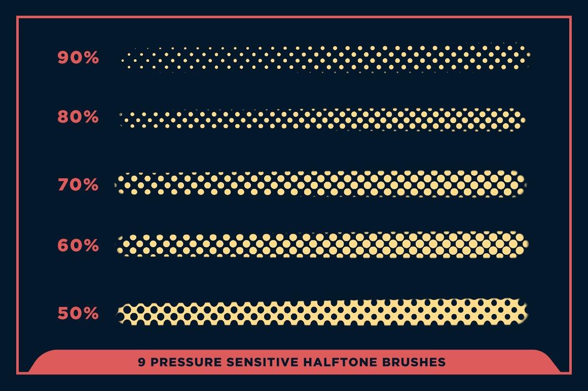 27款半色调颗粒绘画画笔Procreate笔刷素材 Black Magic Halftones插图14