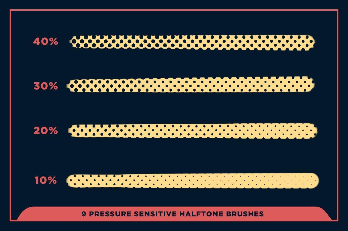 27款半色调颗粒绘画画笔Procreate笔刷素材 Black Magic Halftones插图16