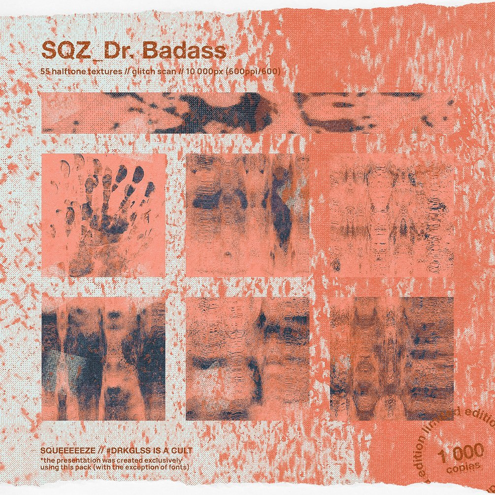 [淘宝购买] 潮流复古故障风打印喷墨涂鸦油墨喷涂纹理笔刷PS设计素材套装 SQZ – Dr Badass插图2