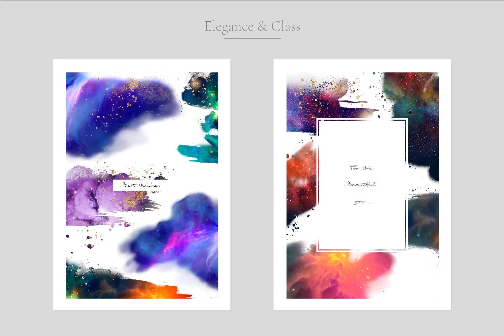 炫彩星云星系宇宙空间水墨背景图片设计素材 Galaxy Watercolor插图4