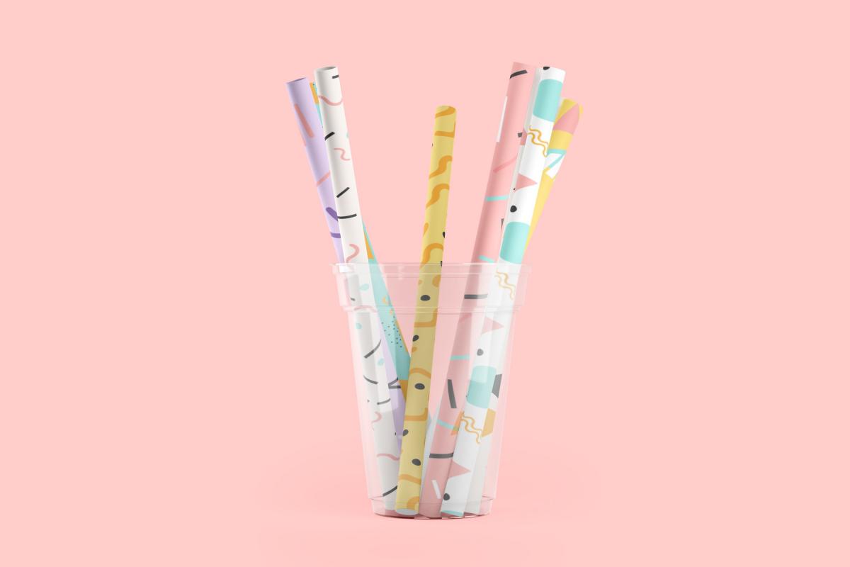 卷轴壁纸印花图案设计3D演示样机模板 Paper Straw 3D Mockup插图2