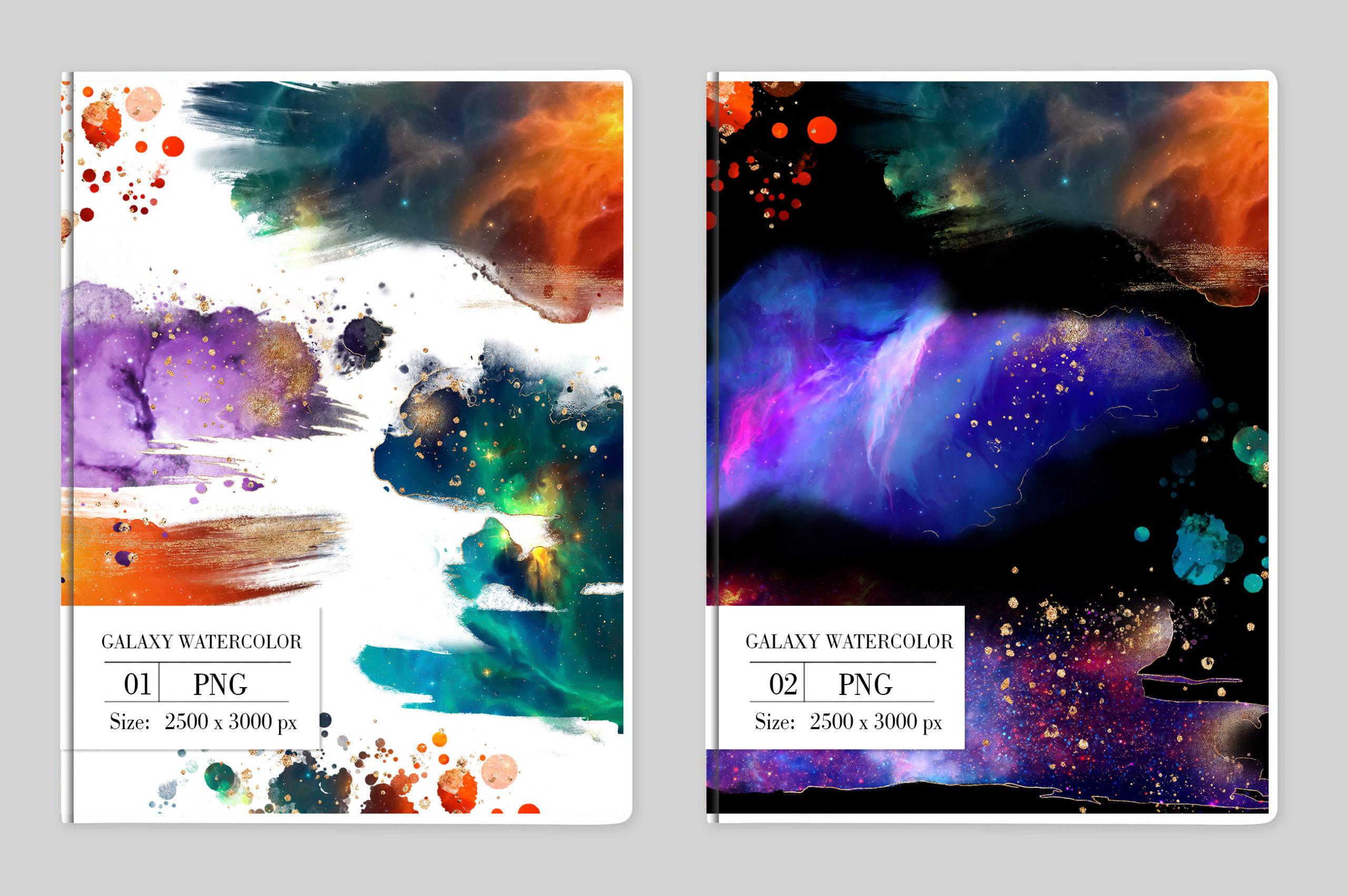 炫彩星云星系宇宙空间水墨背景图片设计素材 Galaxy Watercolor插图5