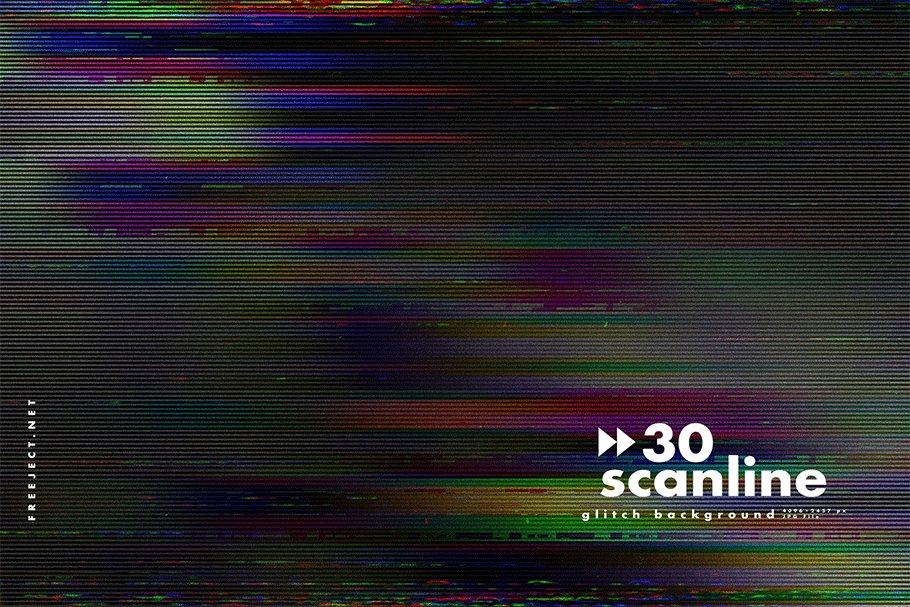 [单独购买] 30款高清故障扫描线纹理海报设计背景图片素材 30 Scan lines Glitch Background插图9