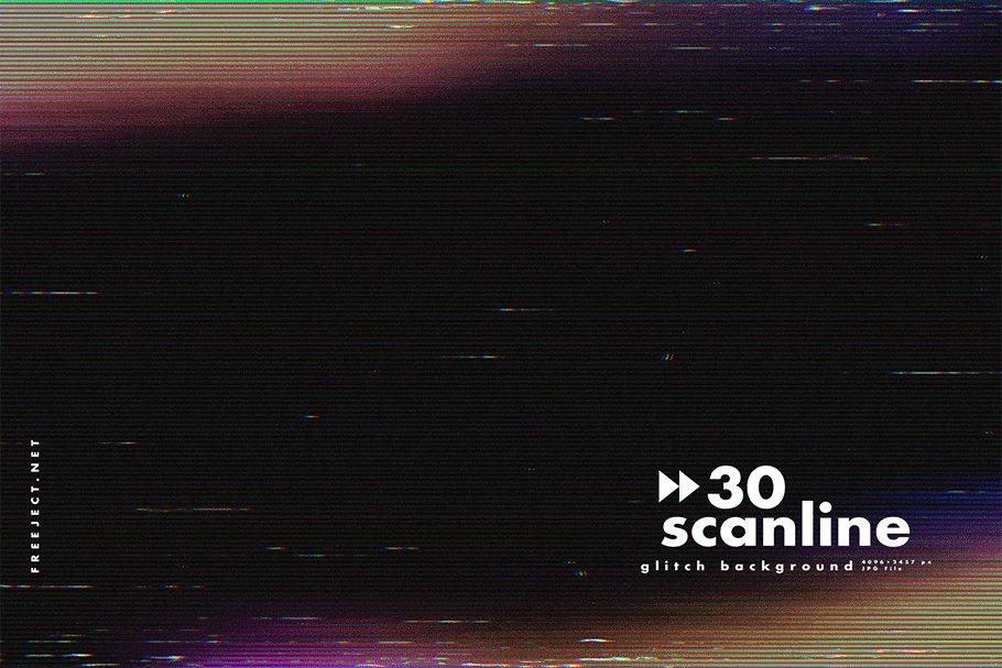 [单独购买] 30款高清故障扫描线纹理海报设计背景图片素材 30 Scan lines Glitch Background插图12