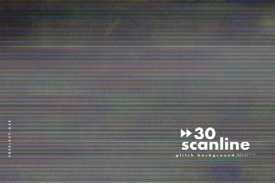 [单独购买] 30款高清故障扫描线纹理海报设计背景图片素材 30 Scan lines Glitch Background插图14