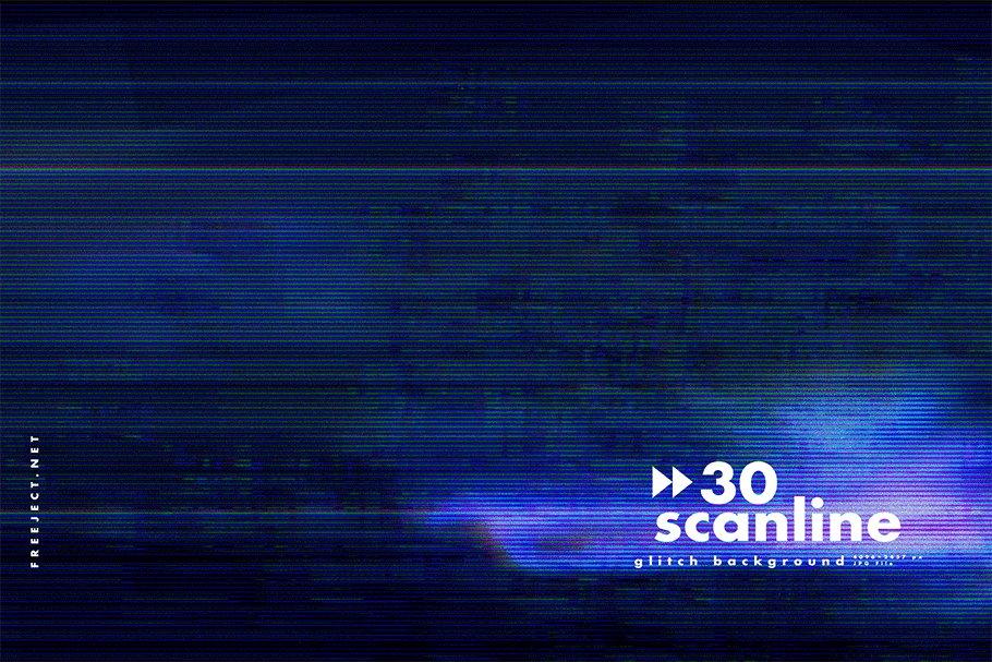 [单独购买] 30款高清故障扫描线纹理海报设计背景图片素材 30 Scan lines Glitch Background插图17