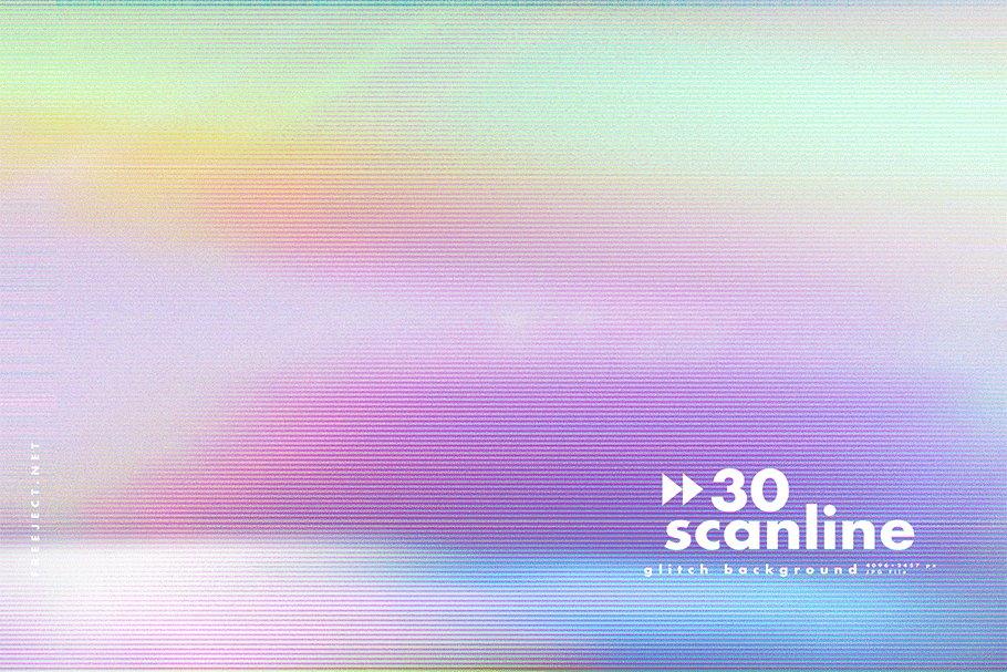 [单独购买] 30款高清故障扫描线纹理海报设计背景图片素材 30 Scan lines Glitch Background插图18