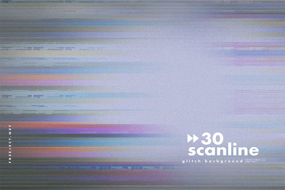 [单独购买] 30款高清故障扫描线纹理海报设计背景图片素材 30 Scan lines Glitch Background插图25