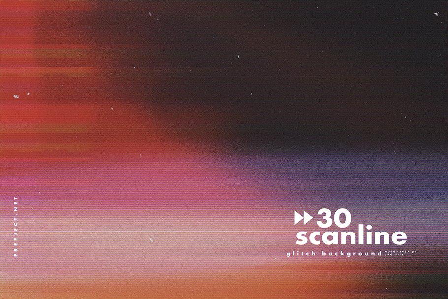 [单独购买] 30款高清故障扫描线纹理海报设计背景图片素材 30 Scan lines Glitch Background插图26