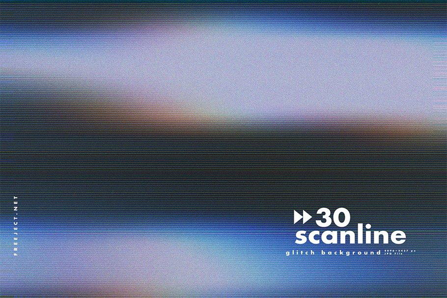 [单独购买] 30款高清故障扫描线纹理海报设计背景图片素材 30 Scan lines Glitch Background插图27