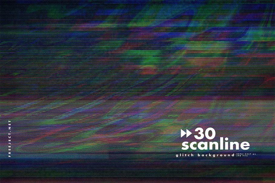 [单独购买] 30款高清故障扫描线纹理海报设计背景图片素材 30 Scan lines Glitch Background插图28