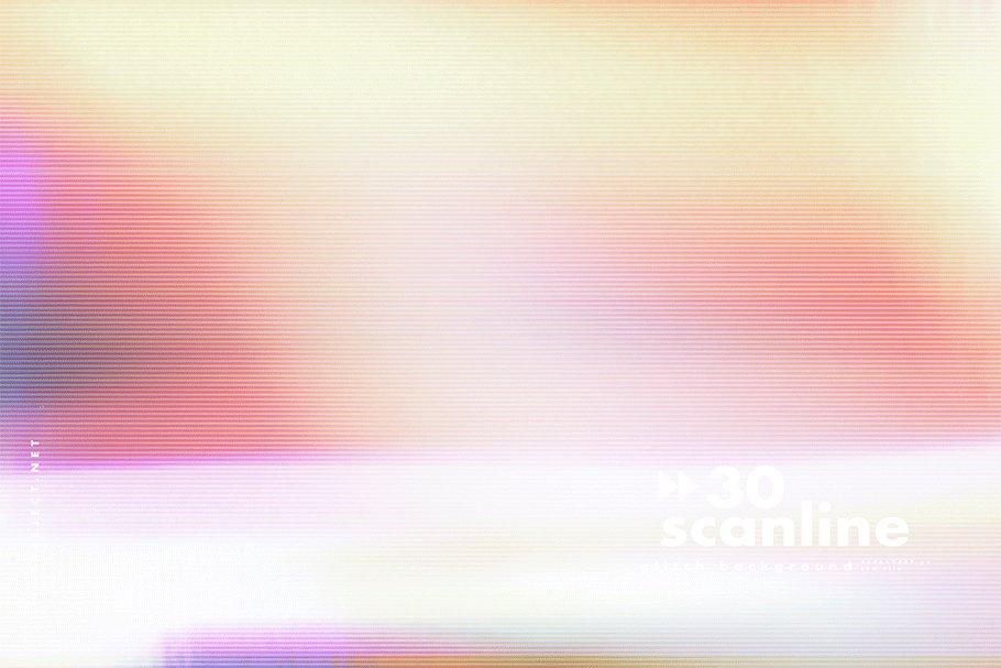 [单独购买] 30款高清故障扫描线纹理海报设计背景图片素材 30 Scan lines Glitch Background插图4