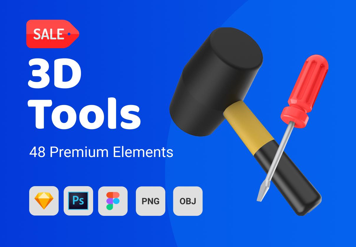 48个卡通3D修炼工具图标设计素材 3D Tools插图